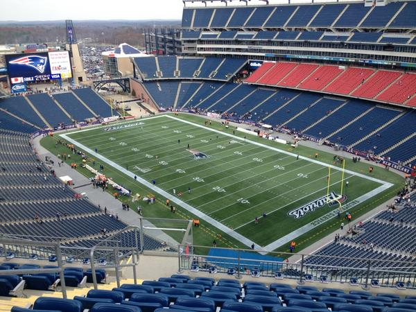 View from the 300 level seats at Gillette Stadium before a New England Patriots game.