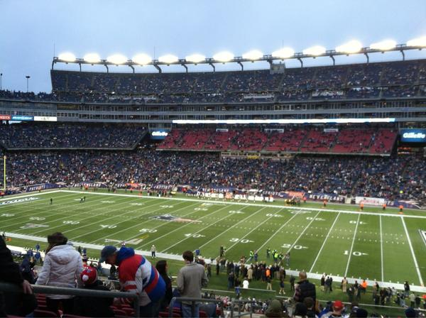 View from the Putnam Club seats at Gillette Stadium during a New England Patriots game.