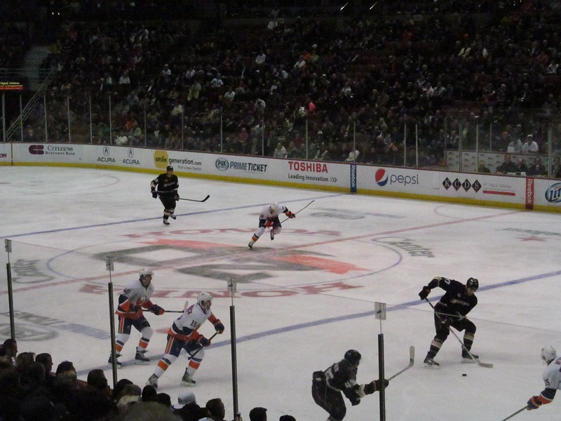View from the lower level seats at the Honda Center during an Anaheim Ducks game.