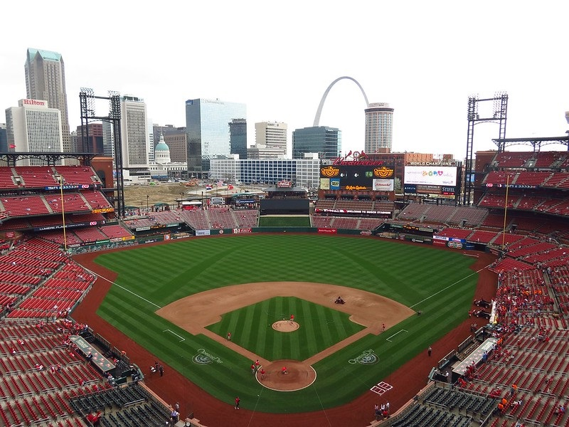 Photo of the playing field at Busch Stadium, home of the St. Louis Cardinals.