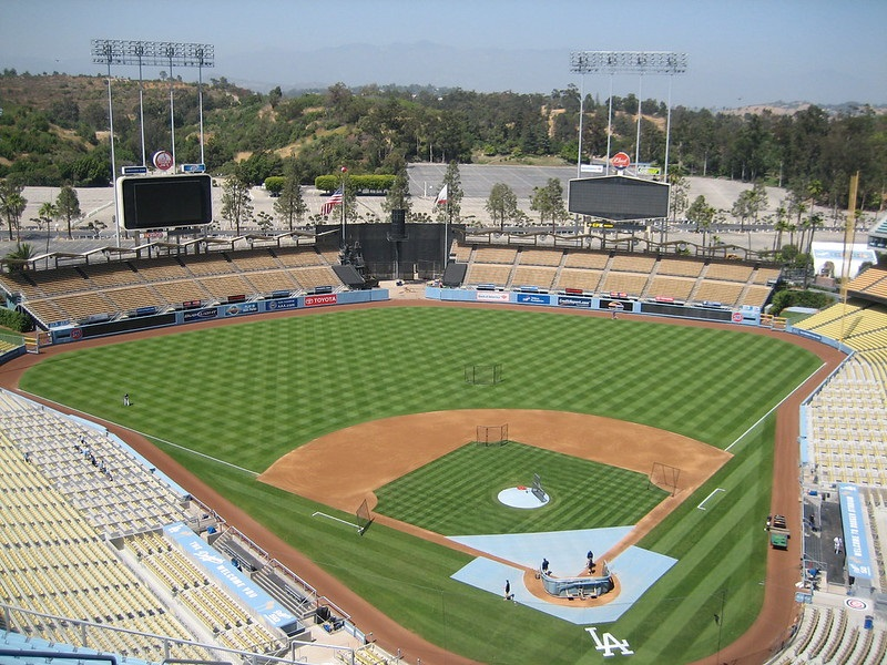 Photo of Dodger Stadium, home of the Los Angeles Dodgers.