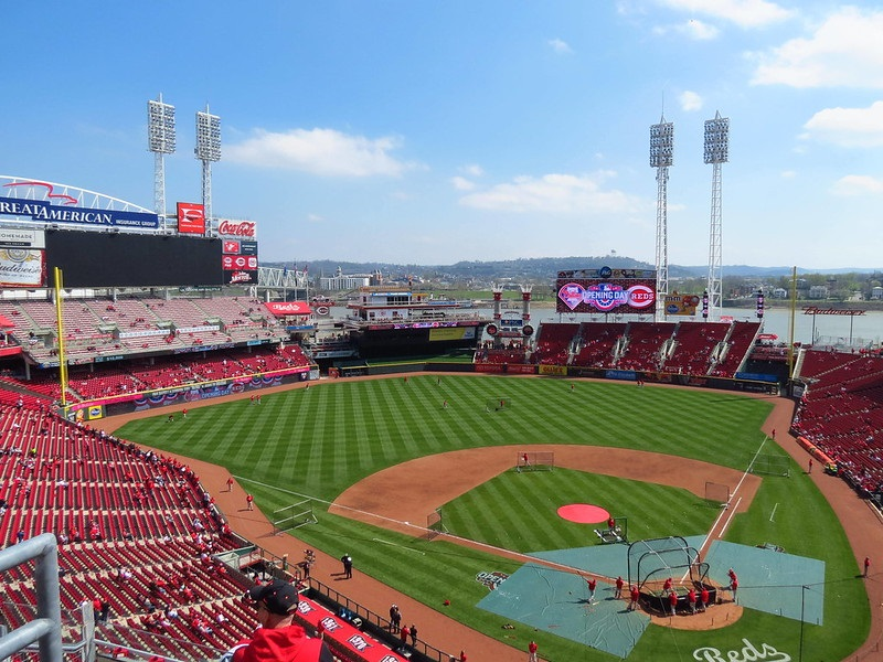 Photo of the field at Great American Ball Park, home of the Cincinnati Reds.