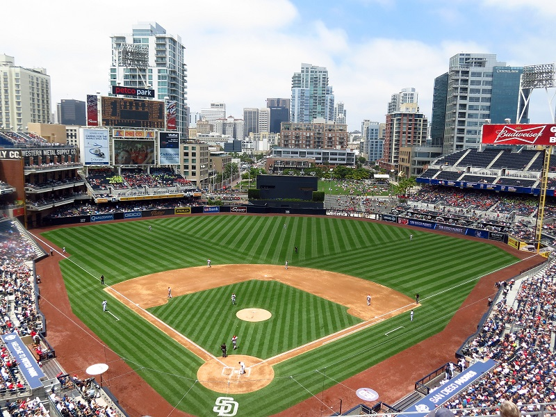 Photo taken from the upper level of Petco Park during a San Diego Padres home game.