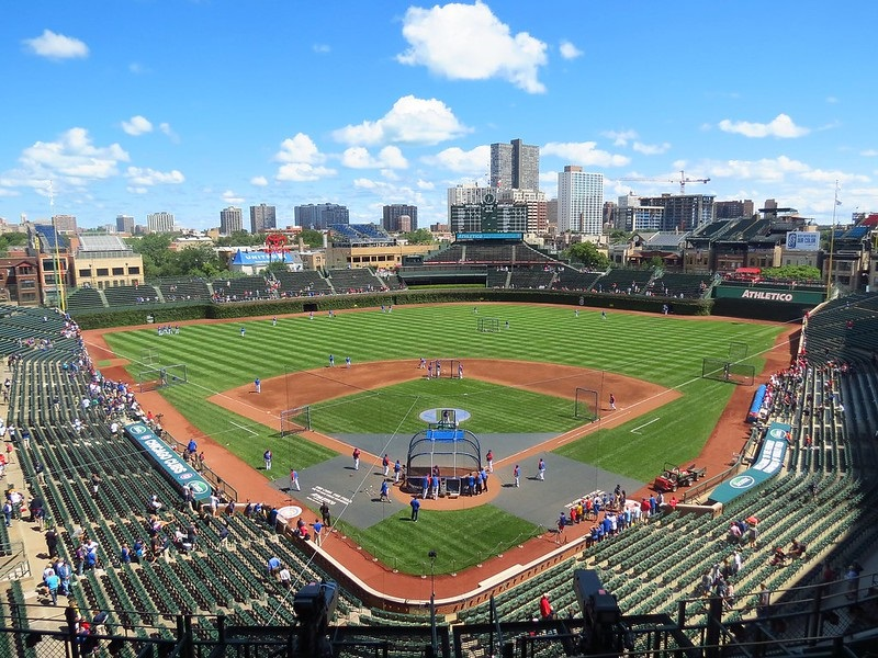 Photo of Wrigley Field in Chicago, Illinois. Home of the Chicago Cubs.