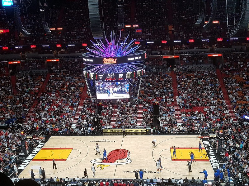 Photo of a Miami Heat game from the upper level of American Airlines Arena.