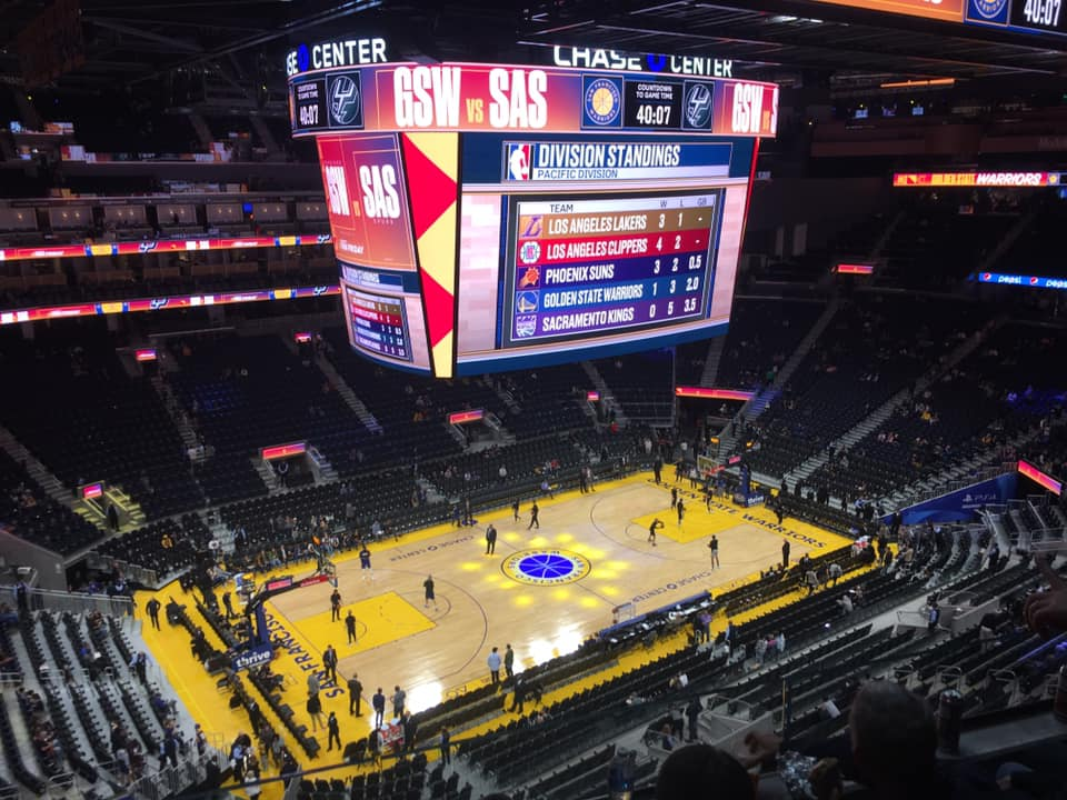 View from the upper level of the Chase Center during a Golden State Warriors game.