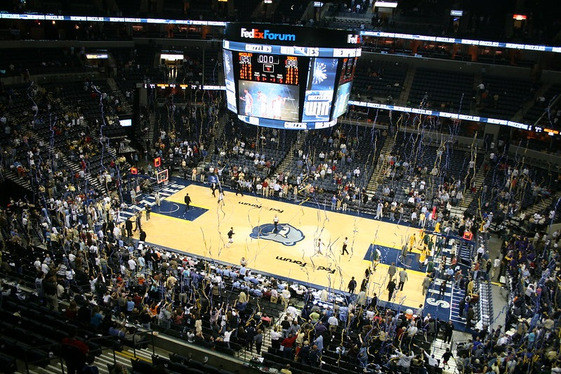 View from the upper level of FedexForum during a Memphis Grizzlies game.