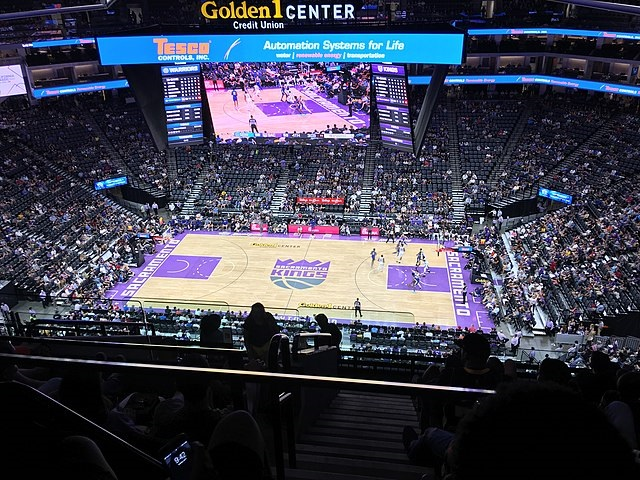 Photo of the court at the Golden 1 Center during a Sacramento Kings game.