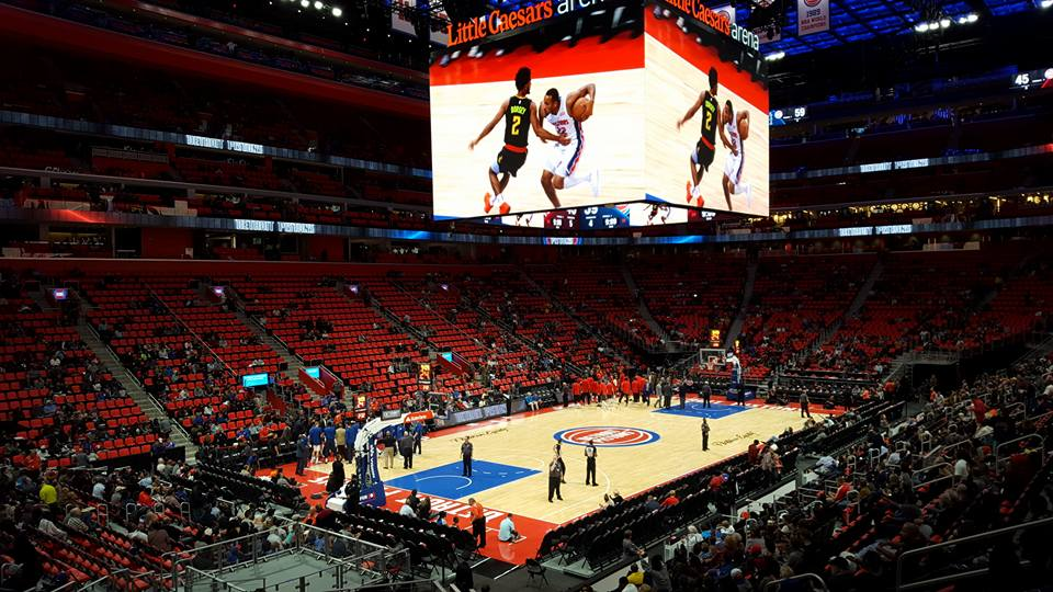 View from the lower level of Little Caesars Arena during a Detroit Pistons game.