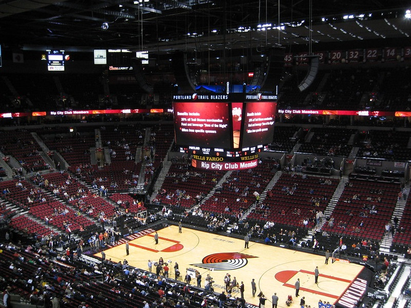 View from the upper level of the Moda Center during a Portland Trail Blazers game.