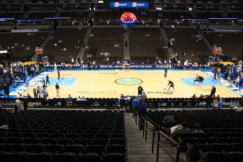 Photo of the court at the Pepsi Center, home of the Denver Nuggets.