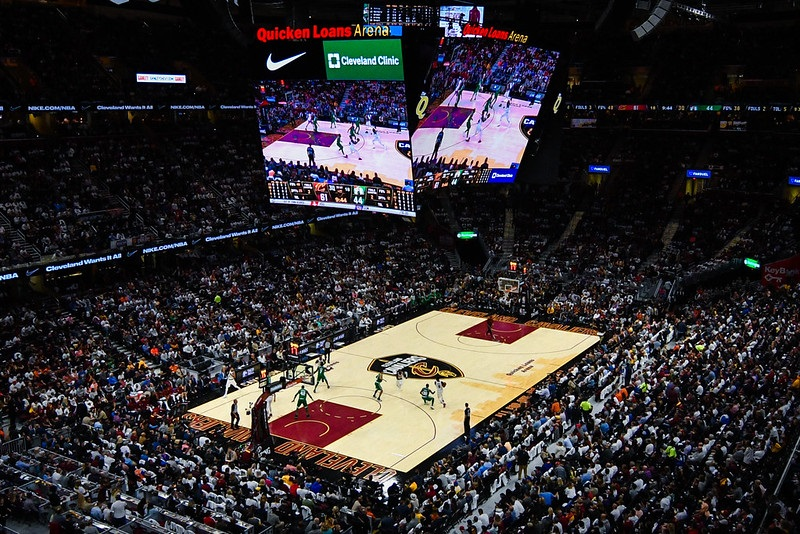 Photo of the court at Rocket Mortage Fieldhouse during a Cleveland Cavaliers home game.