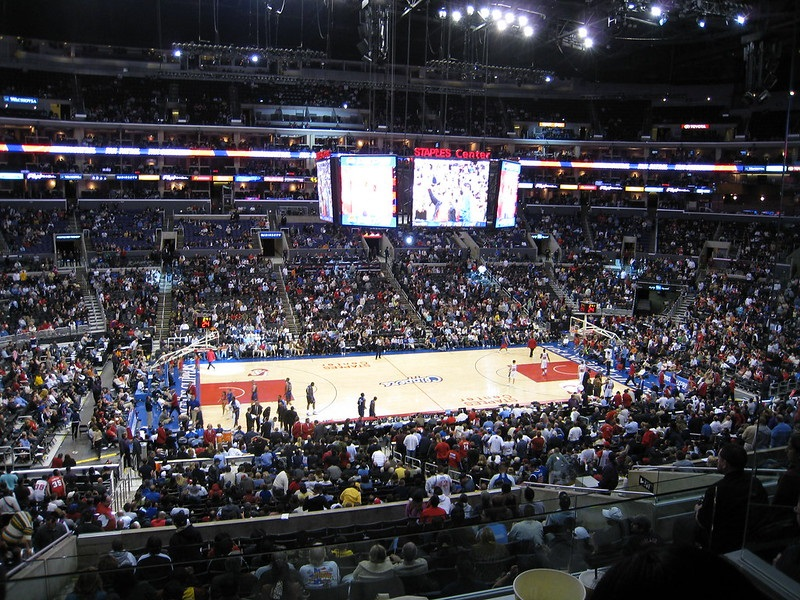 Photo of the court at the Staples Center during a Los Angeles Clippers game.