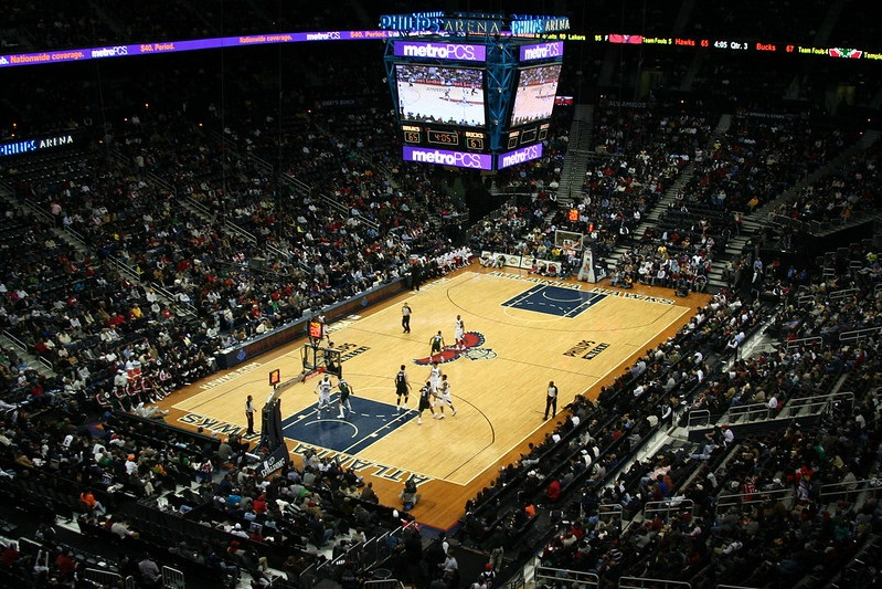 Photo of the court at State Farm Arena during an Atlanta Hawks game.