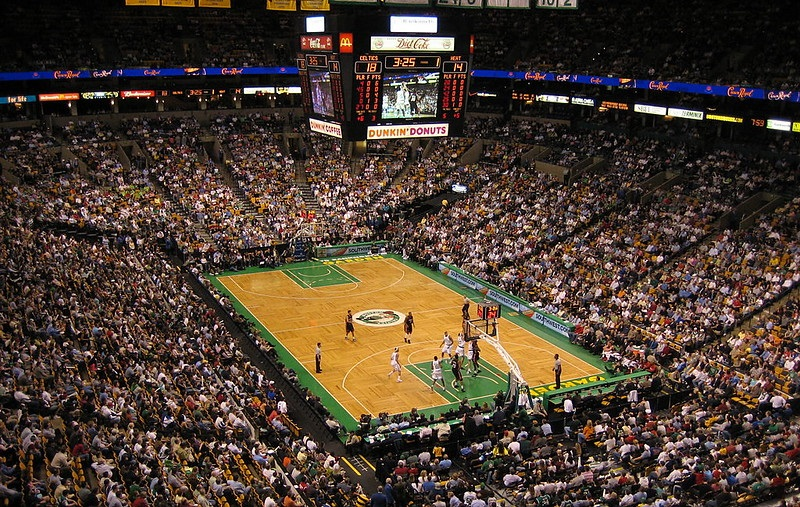 Photo of the court at the TD Garden during a Boston Celtics game.