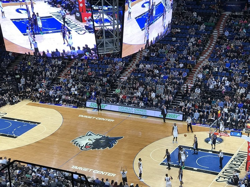 Photo taken from the upper level of the Target Center during a Minnesota Timberwolves game.