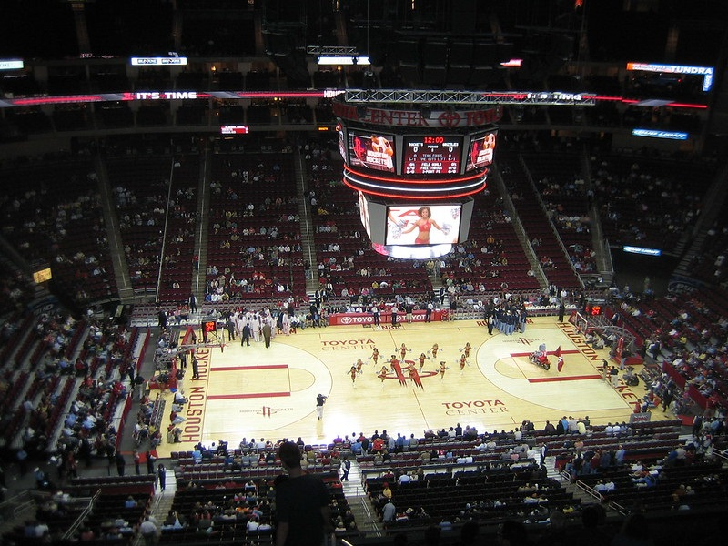 View from the upper level of the Toyota Center during a Houston Rockets game.