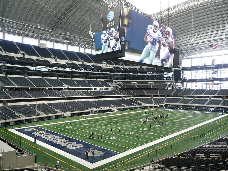 Photo of the playing field at AT&T Stadium, home of the Dallas Cowboys.