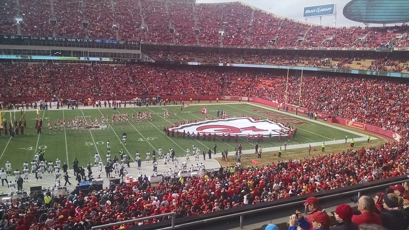 Photo of the playing field at Arrowhead Stadium during a Kansas City Chiefs game.