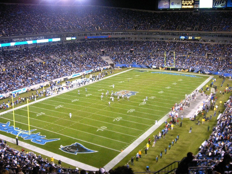 View from the upper level of Bank of America Stadium during a Carolina Panthers game.