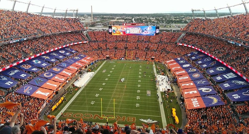 Photo of the playing field at Empower Field at Mile High, home of the Denver Broncos.