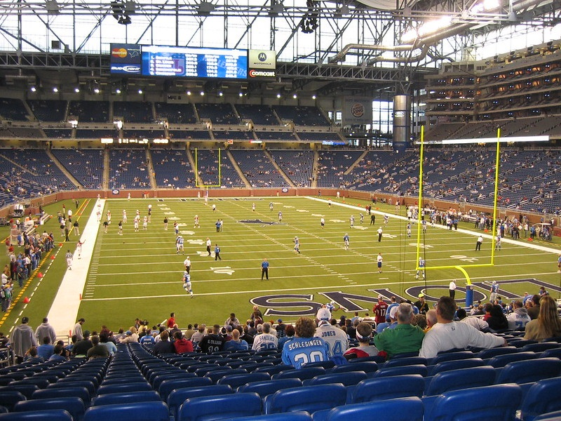 View from the lower level of Ford Field during a Detroit Lions game.