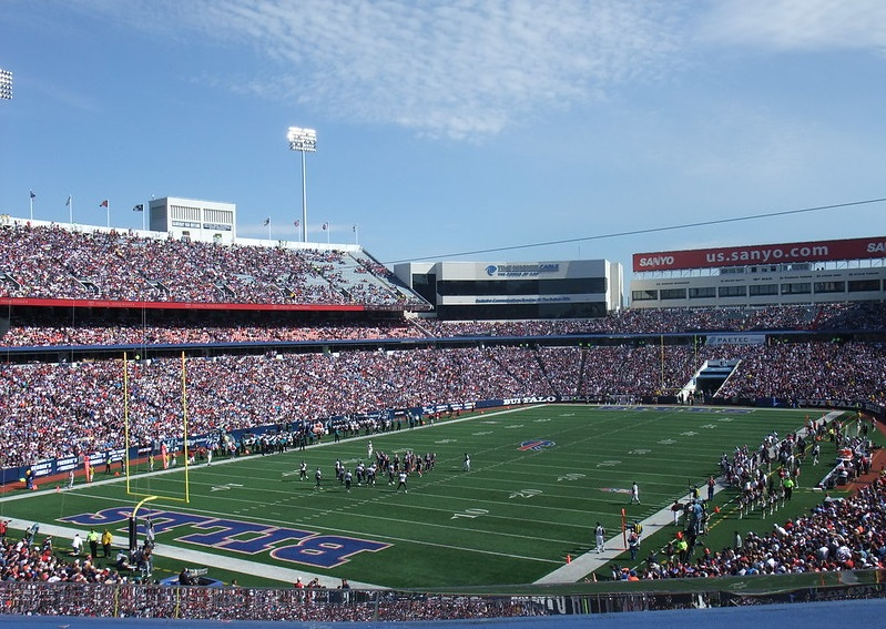 View of the playing field at New Era Field during a Buffalo Bills game.