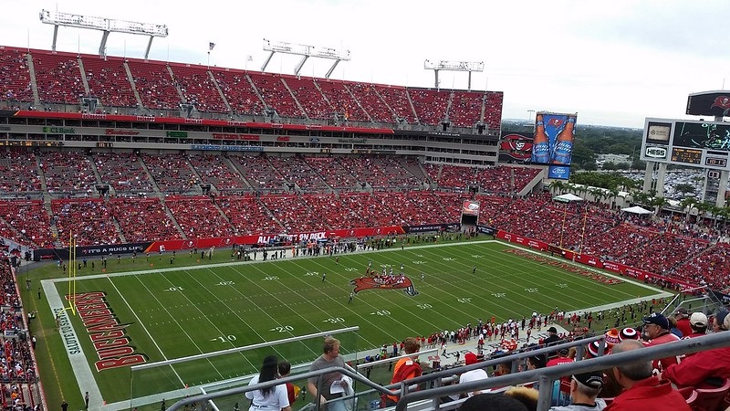 Photo of the field at Raymond James Stadium, home of the Tampa Bay Buccaneers.
