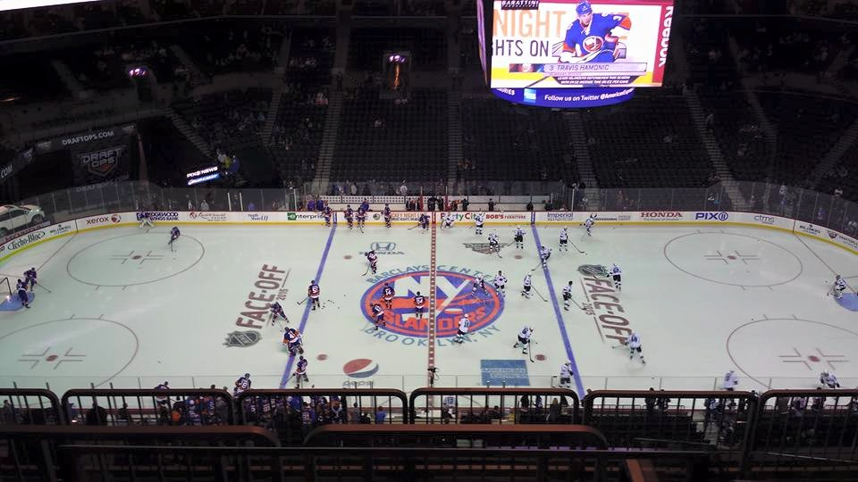 Photo of the ice at the Barclays Center during a New York Islanders game.