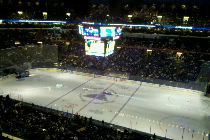 Photo of the ice at the Enterprise Center during a St. Louis Blues game.