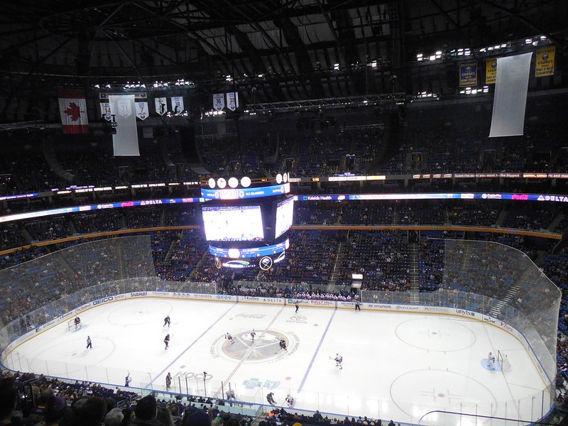 Photo of the ice at the KeyBank Center during a Buffalo Sabres game.