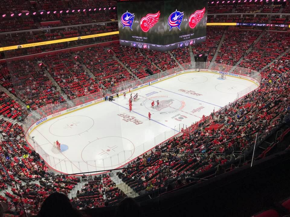 Photo of the ice at Little Caesars Arena during a Detroit Red Wings game.