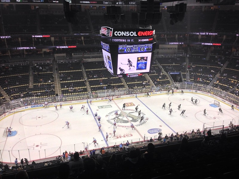 Photo of the ice at PPG Paints Arena during a Pittsburgh Penguins game.