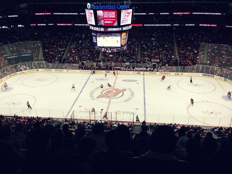 Photo of the ice at the Prudential Center during a New Jersey Devils game.