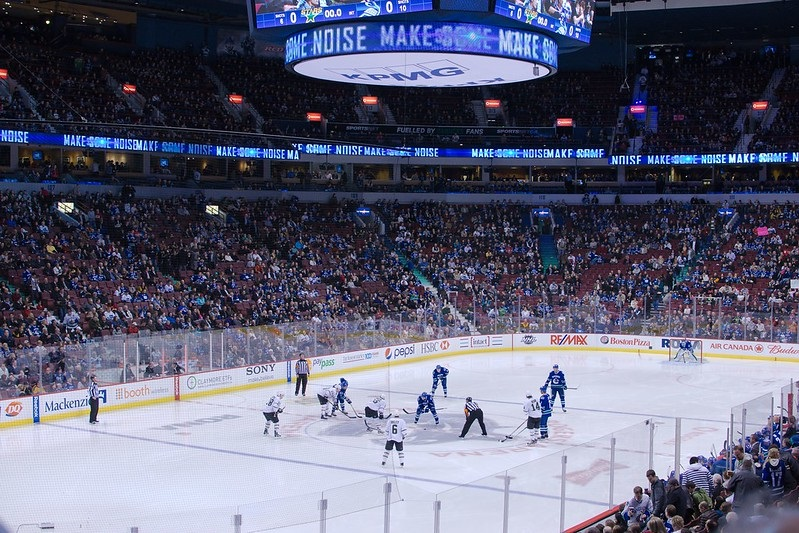 Photo of the ice at Rogers Arena during a Vancouver Canucks game.