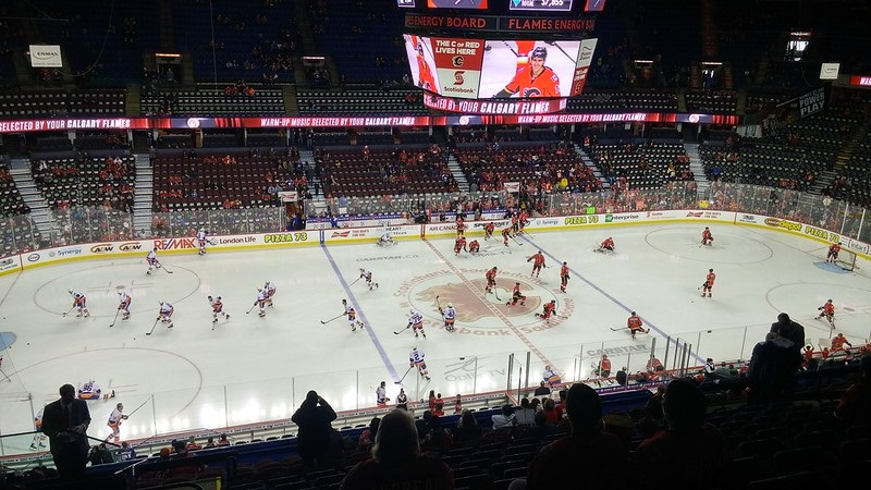 Photo of the ice at the Scotiabank Saddledome during a Calgary Flames game.