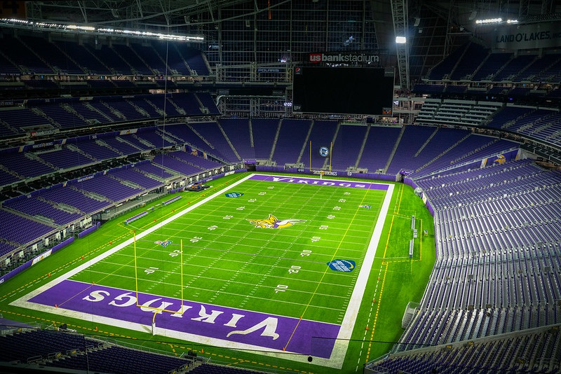 Photo of the field at U.S. Bank Stadium, home of the Minnesota Vikings.