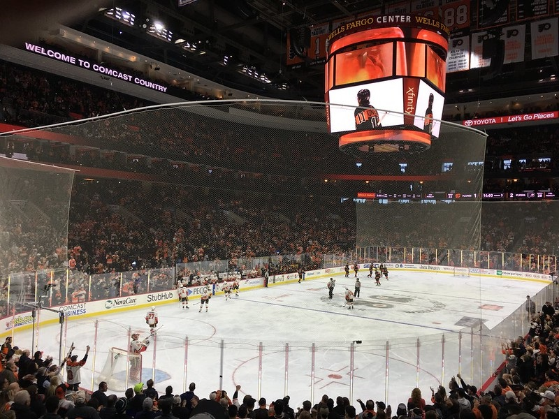 Photo of the ice at the Wells Fargo Center during a Philadelphia Flyers game.