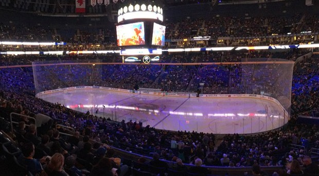 View from the club seats at the KeyBank Center before a Buffalo Sabres game.