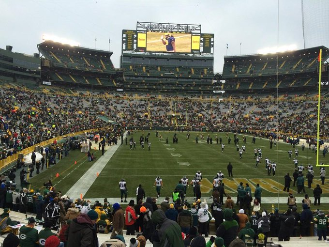 View from the lower level seats at Lambeau Field during a Green Bay Packers game.