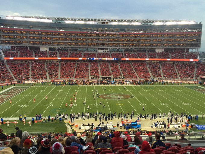 View from the club level seats at Levi's Stadium during a San Francisco 49ers game.