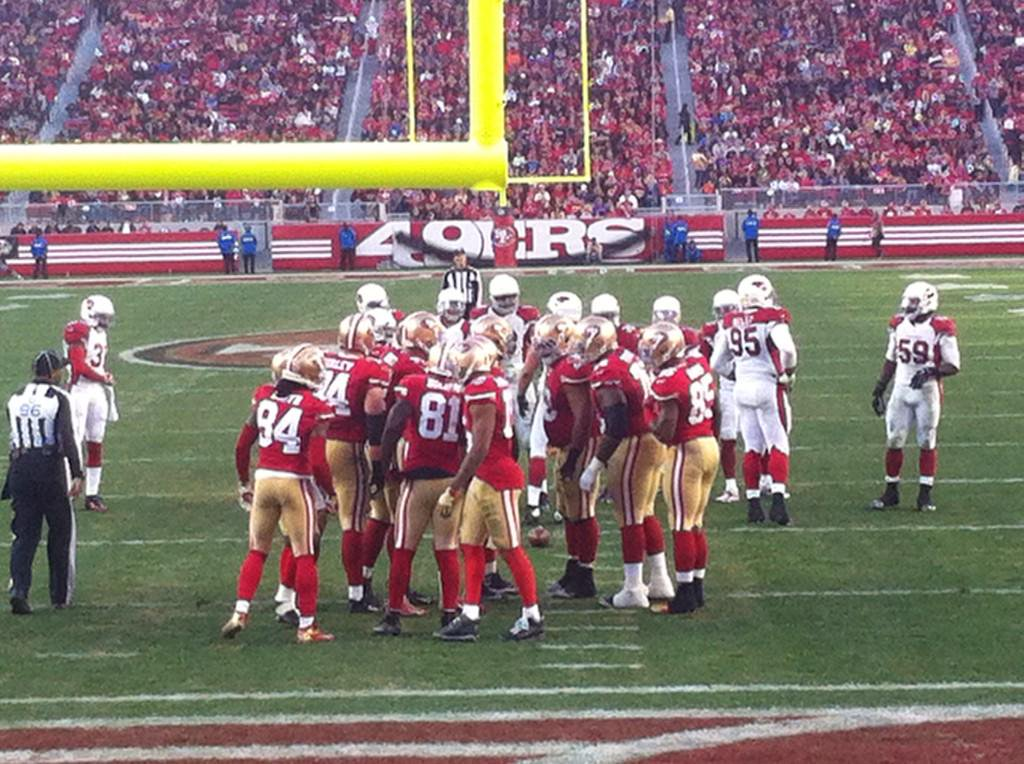View from the field level seats at Levi's Stadium during a San Francisco 49ers game.