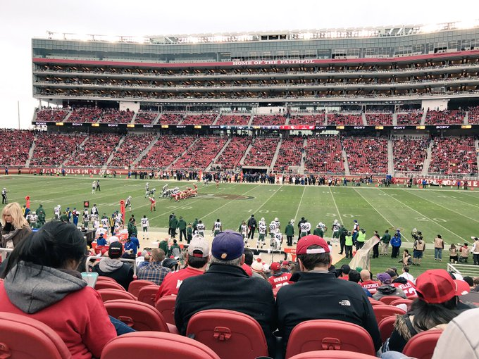 View from the lower level seats at Levi's Stadium during a San Francisco 49ers game.