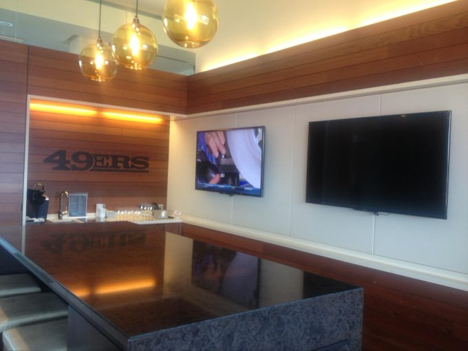 Interior photo of a suite at Levi's Stadium during a San Francisco 49ers home game.