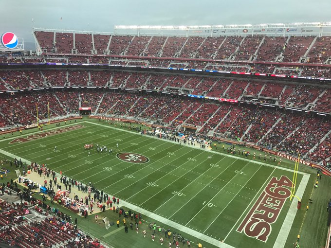View from the upper level seats at Levi's Stadium during a San Francisco 49ers game.