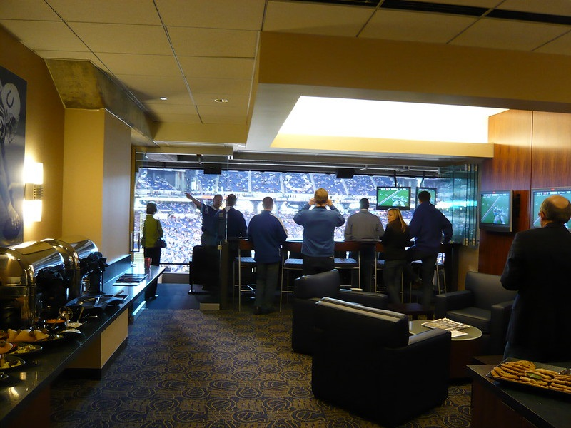 Interior photo of a luxury suite at Lucas Oil Stadium. Home of the Indianapolis Colts.