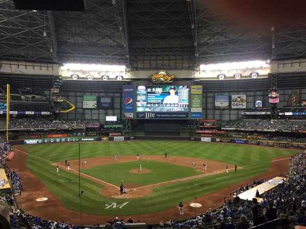 Photo of the field at Miller Park, home of the Milwaukee Brewers.