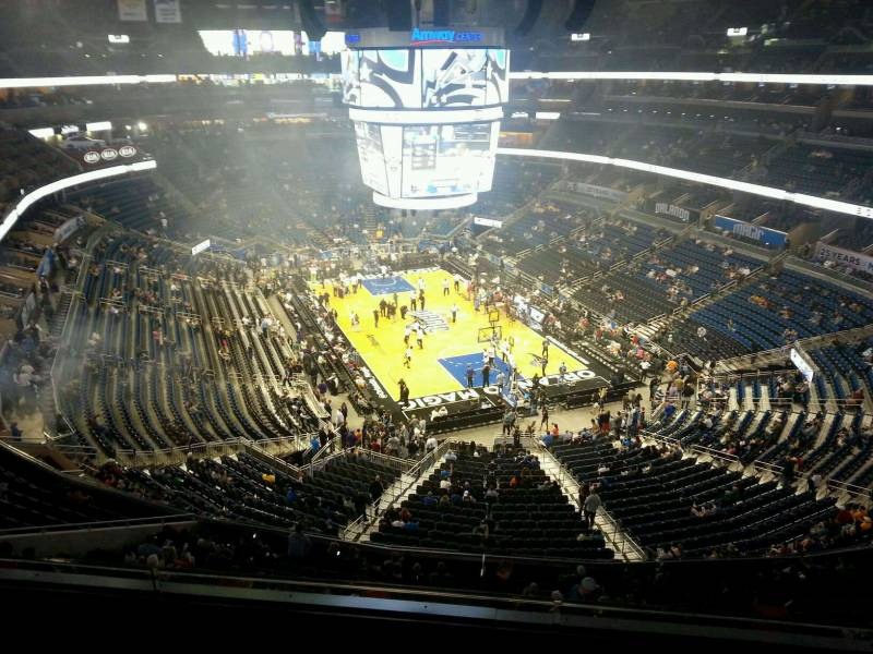 Seat view from section 219 at the Amway Center, home of the Orlando Magic.