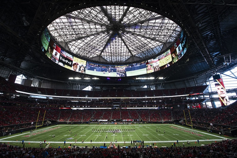 Photo taken from the lower level seats at Mercedes-Benz Stadium during an Atlanta Falcons home game.