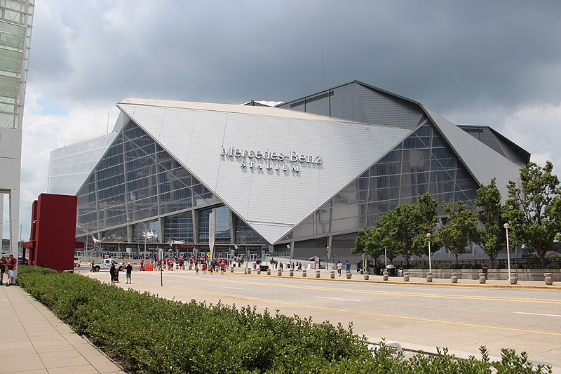 Exterior photo of Mercedes-Benz Stadium. Home of the Atlanta Falcons.